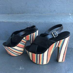 C Label retro platform heels